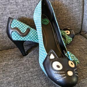 T.U.K. Cat Polkadot Teal Green Heels
